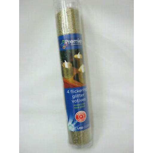 Premier Tealights Flickering Battery Pk 4 Tea Lights Glitter Gold LB101541