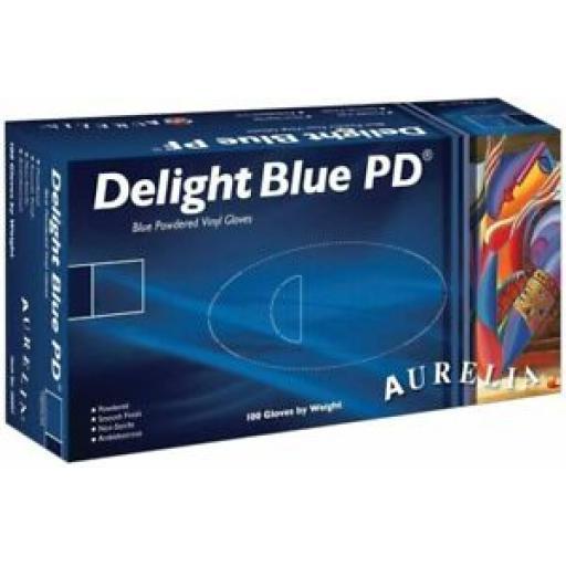 Aurelia Vinyl Powdered Disposable Blue Gloves Large - Pack 100