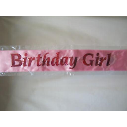 """Alandra Flashing Pink Happy Birthday Party Sash """"Birthday Girl"""" Logo FS-BG/P"""