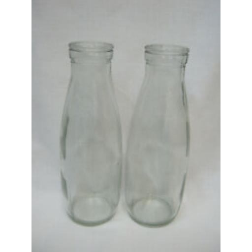 Traditional School Style Glass Milk Bottle Bottles 500ml Pk2