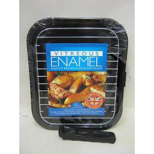 Pendeford Vitreous Enamel Grill Pan With Detachable Handle Black P808