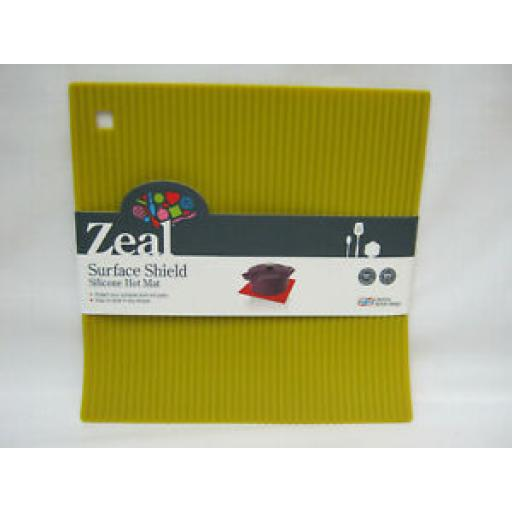 CKS Zeal Heat Resistant Silicone Kitchen Hot Mat Square Trivet J310 Mustard 22cm