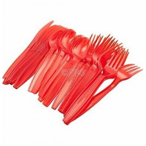 PPS Plastic Cutlery Knives Forks Spoons Pk 36 Red Set