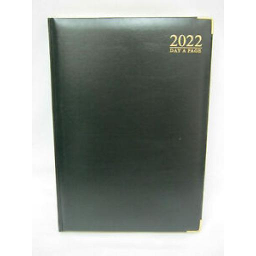 Tallon Day A Page Diary A4 2022 Padded Back Gilded Edge Black