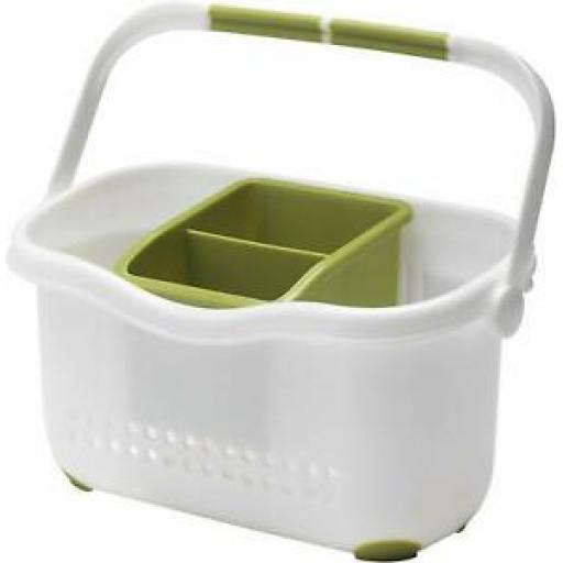 Addis Kitchen Sink Cutlery Storage Caddy White And Green 513830