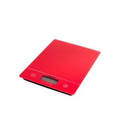 Sabichi Red Glass Slim Line Digital 5kg Kitchen Scales 195296