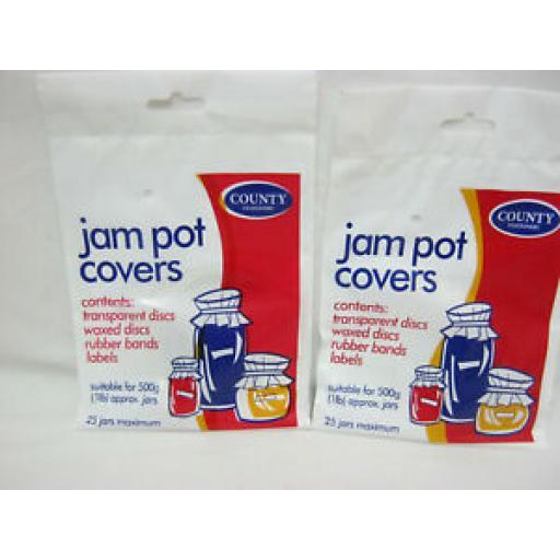 County Jam Pot Covers Waxed Discs 1lb Pk 25 x 2pks C20