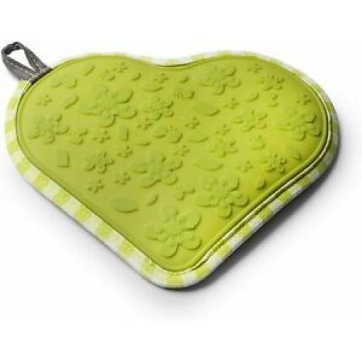Zeal Heat Resistant Silicone Hot Grab Mat Heart Trivet V110 Lime Gingham 22cm