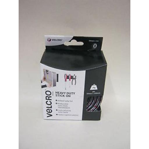 Velcro Heavy Duty Stick On Tape 50mm x 1m Black 60241