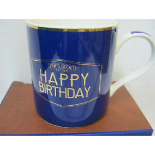 Fine China Mug Beaker Coffee Tea Blue Gent's Society Happy Birthday LP33923