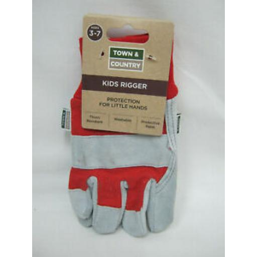 Town And Country Gardening Gloves Glove Small Kids Rigger TGL304 Age 3/7 Red