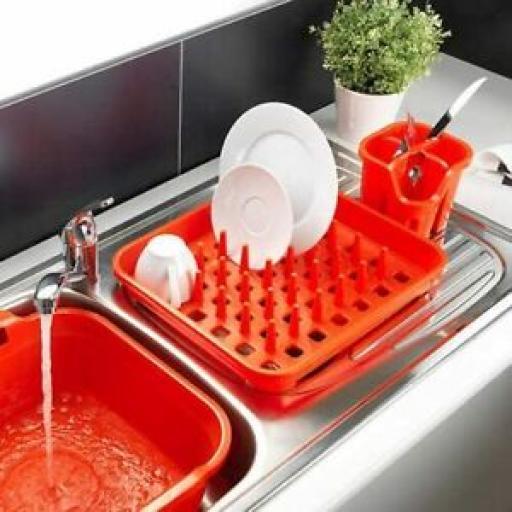 Addis Oblong Plastic Washing Up Dish Drainer Plate Rack 517956 Flame Orange