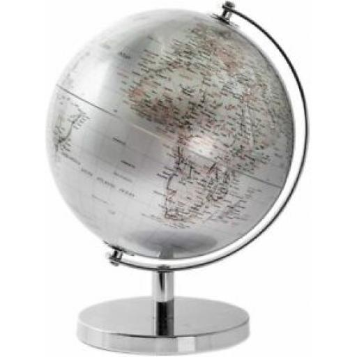 Lesser & Pavey Rotating Silver World Globe Metal Stand for Your Desk 27cm