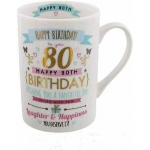 Signography Mug Beaker Coffee Tea Happy 80th Birthday CM26080