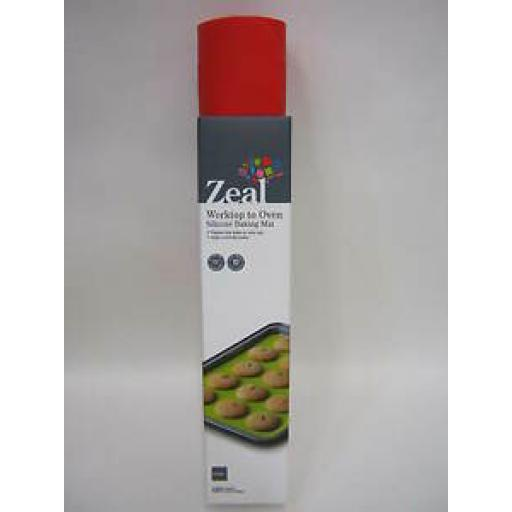 Zeal Worktop To Oven Non Stick Silicone Baking Mat Sheet N171 Red