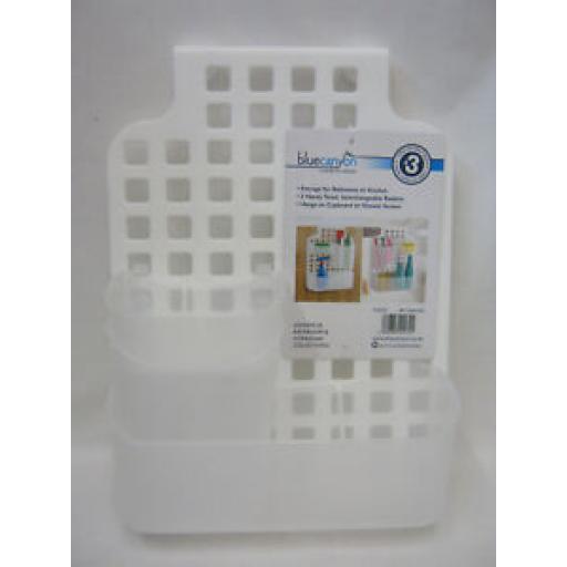Blue Canyon Plastic Over Door Bathroom Kitchen Shower Screen Caddy BA1066/WH