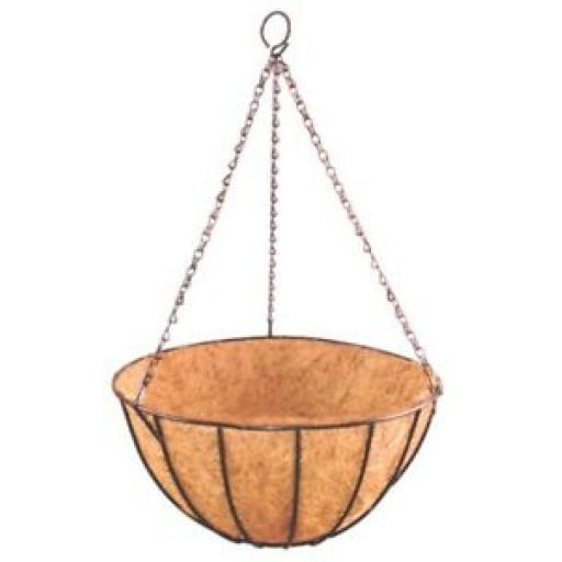 """Ambassador Wire Black Hanging Basket With Chain And Liner 12"""" 30cm AHBL10"""