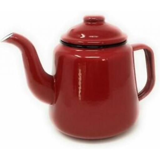 Falcon Enamel 14cm 1.5ltr Teapot Camping Red Tea Pot