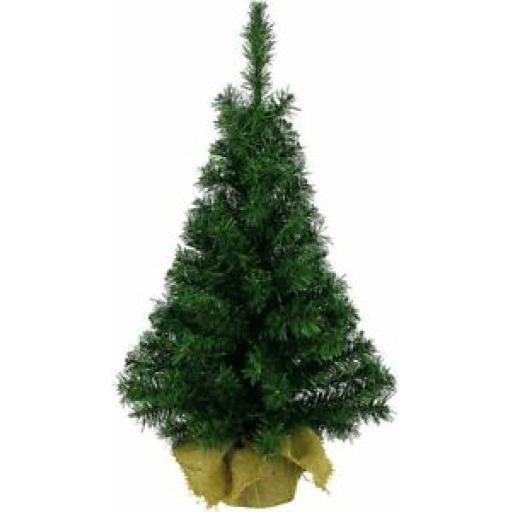 Ambassador Green Mini Christmas Tree Table Top 45cm Jute Base