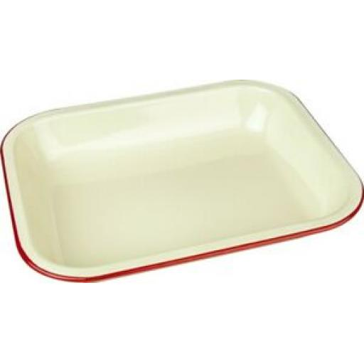 Falcon Enamel Bakepan Roasting Dish Bake Pan 34cm x 28cm Cream With Red Trim