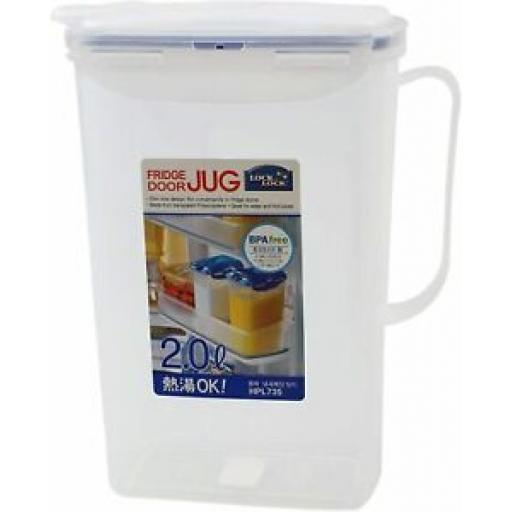 Lock and & Lock Juice Drinks Jug 2.0L Fits Fridge Door HPL735