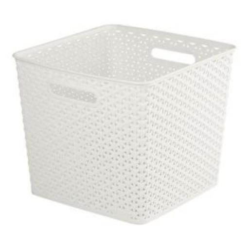 Curver My Style Deep Box Square Storage Basket Handle Plastic Cream 196862 25 Lt