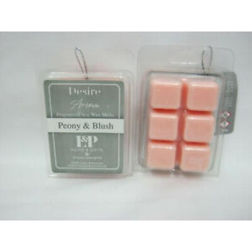 2 x Lesser & Pavey Desire Aroma Fragranced Soy Wax Melts Peony And Blush