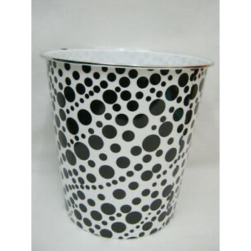 Blue Canyon Plastic Waste Paper Bin White And Black Spots