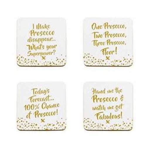 Lesser And Pavey Coasters Pk4 10.5cm x 10.5cm Prosecco LP40084