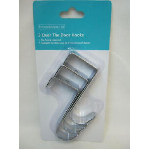 Headbourne Over The Door Hook Hanger Hooks Pk 3 HR3146D Chrome