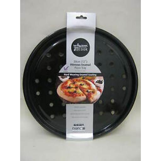 Wham Vitreous Enamel Pizza Round Oven Tray Black 30cm 55225