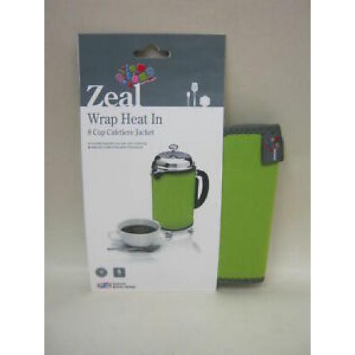 Zeal Cafetiere Insulated Thermal Heat Wrap Jacket 8 Cup Lime C124