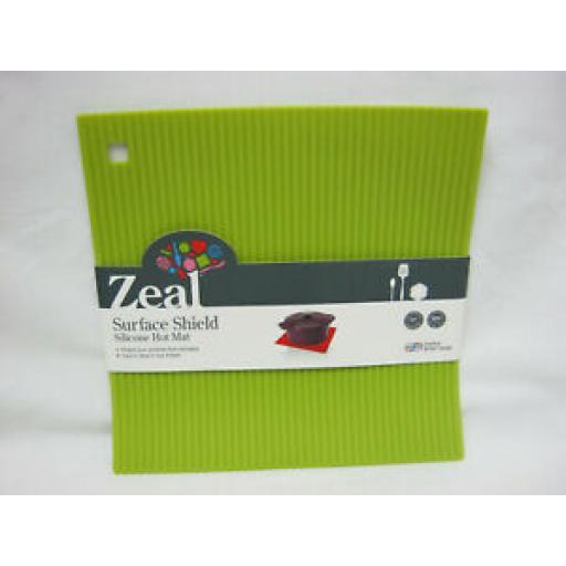 CKS Zeal Heat Resistant Silicone Kitchen Hot Mat Square Trivet J310 Lime 22cm