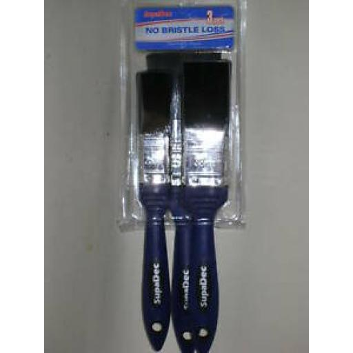 Decorator No Bristle Loss Paint Gloss Brushes Pack of 3