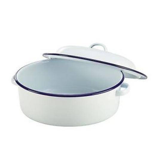 Falcon White Enamel Round Roast Roasting Roaster Dish Casserole 20CM