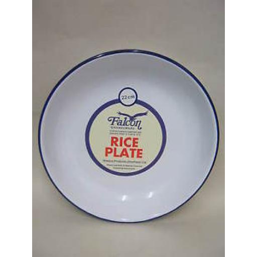 White Falcon Enamel Round Pie Rice Plate Baking Dish Tin 22cm