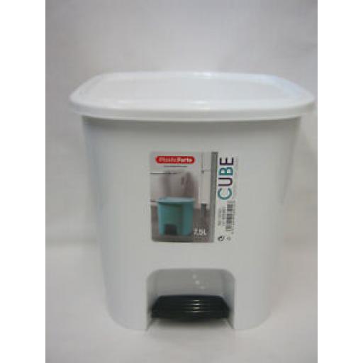 Alberto Forte Small Waste Pedal Bin Bathroom Kitchen White Plastic 7.5Ltr