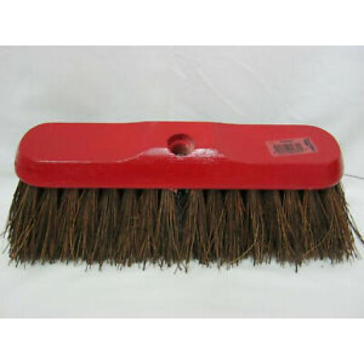 """Hills Wood Red Backed Broom Head Only With Stiff Bassine Bristles 11"""""""