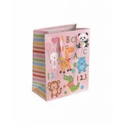 "Medium Birthday Gift Present Bag Pk 10 Bags Pink Animals 7"" x 9"""