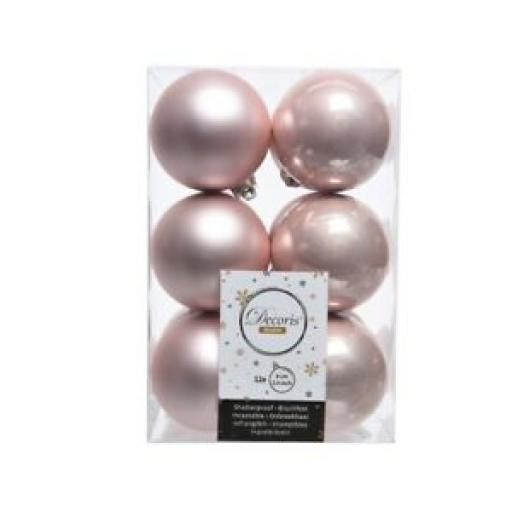 Decoris Kaemingk Assorted Baubles 60mm Blush Pink Pk12 9021924
