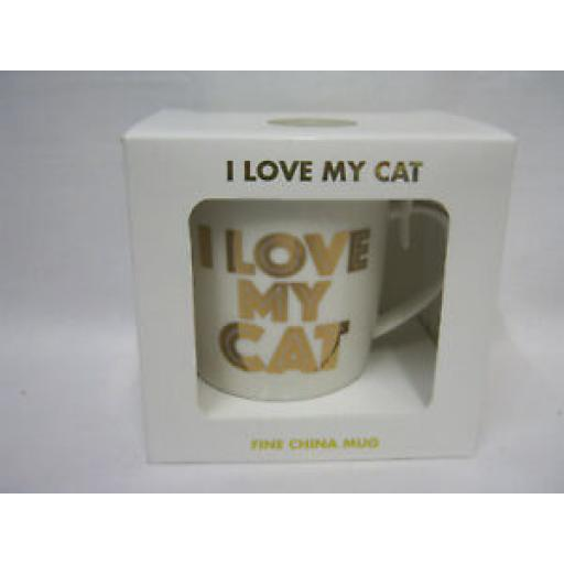 Lesser And Pavey Fine China Mug Beaker Coffee Tea Cup I Love My Cat LP33654