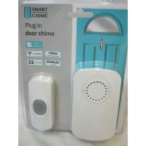Unicom Wireless Wirefree Plug In Door Bell Chime Kit 100M Range 66149