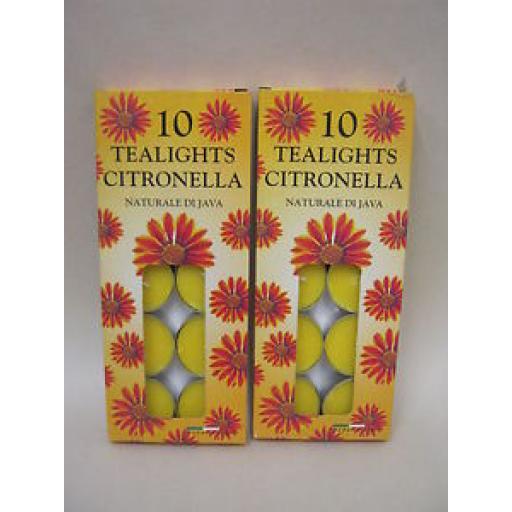 Citronella Tealights Candles Fragranced Tea Lights 2 pks x10