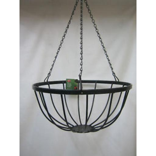 "Ambassador Flat Wire Bar Black Hanging Basket With Chain 14"" 35.5cm AFBHB14"