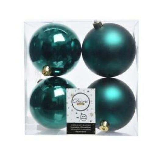 Kaemingk Decoris Baubles 100mm Pk 4 Emerald Green 370806