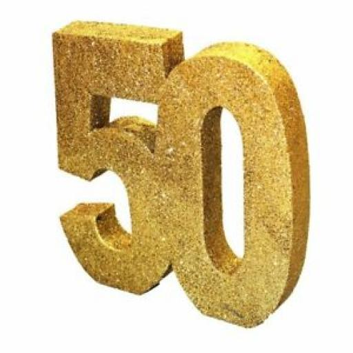 Birthday Table Centre Piece Decoration Gold Glitter 50 H105