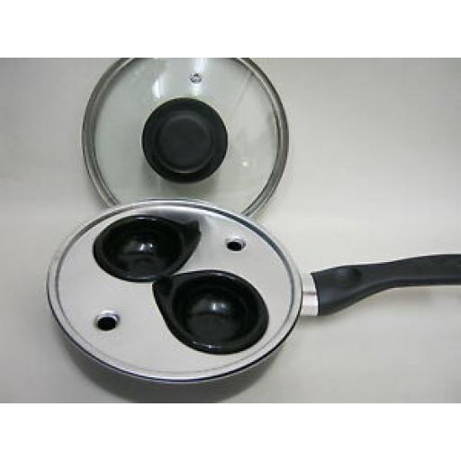 Pendeford Single 2 Hole Egg Aluminium Poacher Non Stick Pan Glass Lid P62