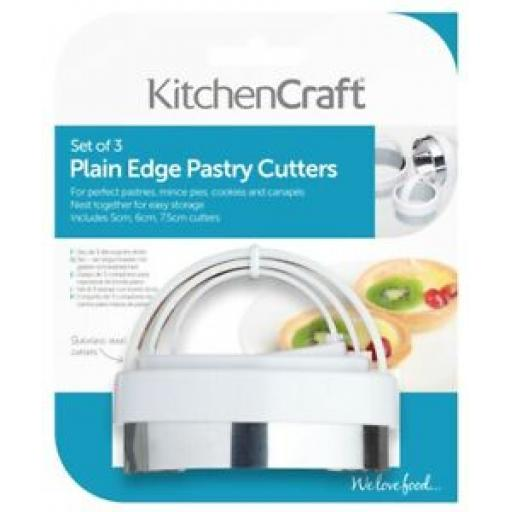 Kitchencraft Plain Pastry Cutters And Handles Stainless Steel Set Of 3 KCABPLAIN