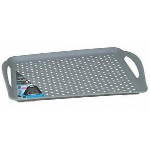 Creative Kitchen Handled Tray 41cm x 28.5cm Grey White Spots Anti Slip 3380