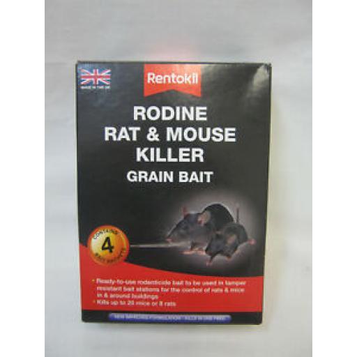 Rentokil Rodine Rat And Mouse Killer Grain Bait 4 x 25g poison PSMR12